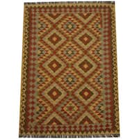 Herat Oriental Afghan Hand-woven Tribal Wool Kilim (4'3 x 5'4)