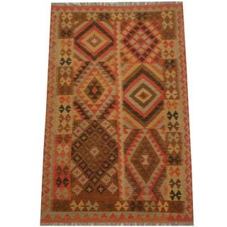 Herat Oriental Afghan Hand-woven Tribal Wool Kilim (4'3 x 6'4)