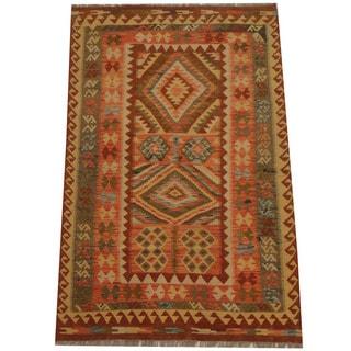 Herat Oriental Afghan Hand-woven Tribal Kilim (4'3 x 6'7)