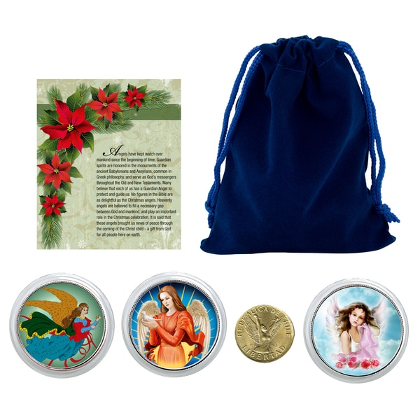 American Coin Treasures Christmas Angel Coins in Blue Pouch