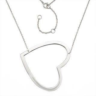 Sterling Silver Open Sideways Heart Pendant with 16-inch +1-inch Extender Necklace