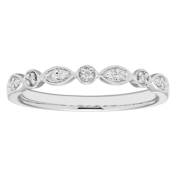 Boston Bay Diamonds 14k White Gold .06ct TDW Diamond Accent Stackable Band Ring. Opens flyout.