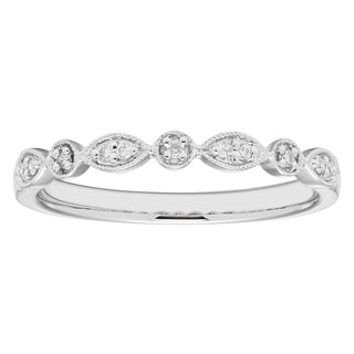 Boston Bay Diamonds 14k White Gold Stacked Diamond Accent Fashion Band Ring (I, I1)
