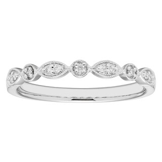 Boston Bay Diamonds 14k White Gold .06ct TDW Diamond Accent Stackable Band Ring