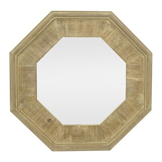 Three Hands Octagon Gold-tone Wood Slat Mirror