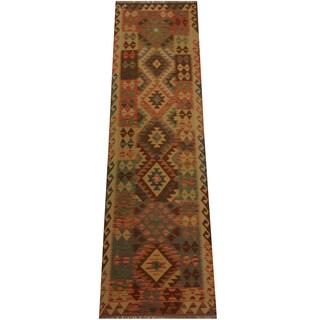 Herat Oriental Afghan Hand-woven Tribal Wool Kilim Runner (2'7 x 9'4)