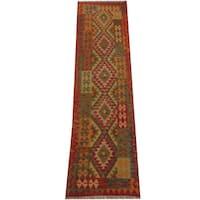 Herat Oriental Afghan Hand-woven Tribal Wool Kilim Runner (2'7 x 8'6) - 2'7 x 8'6