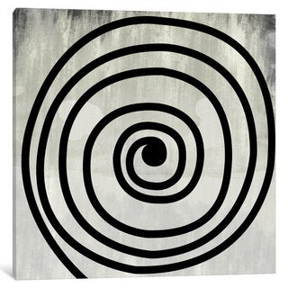 iCanvas Mid Century Modern Art- Black Swirl by 5by5collective Canvas Print