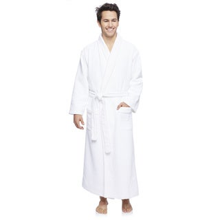 Wellington Men's White Cotton/Polyester Diamond Jacquard Robe