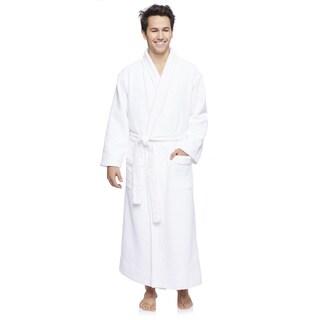 Wellington Men's White Cotton/Polyester Diamond Jacquard Robe