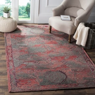 Safavieh Handmade Vintage Oushak Red Distressed Silky Polyester Rug (5' x 8')
