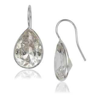 WOmen's Sterling Silver Extra-large Bezel-set Pear Cubic Zirconia Hook Earrings
