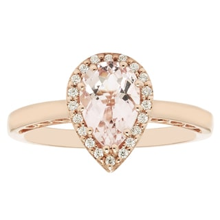14k Rose Gold Pear-shaped Morganite and 1/10ct TDW Diamond Fashion Ring (H-I, I1-I2)