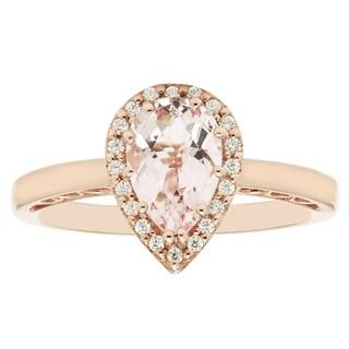 Boston Bay Diamonds 14k Rose Gold Pear-shaped Morganite and 1/10ct TDW Diamond Fashion Ring (H-I, I1-I2) - Pink