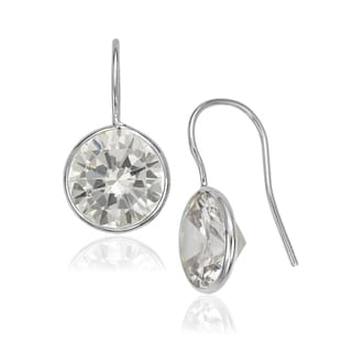 Sterling Silver 10-millimeter Bezel-set Round Cubic Zirconia Hook Earrings