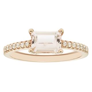 Boston Bay Diamonds 14k Rose Gold 5x7mm Morganite & 1/10ct TDW Diamond Fashion Ring - Pink