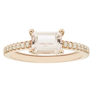 Boston Bay Diamonds 14k Rose Gold 1/8ct TDW Diamond and Morganite Fashion Ring (H-I, I1-I2)