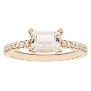 Boston Bay Diamonds 14k Rose Gold 5x7mm Morganite & 1/10ct TDW Diamond Fashion Ring - Pink