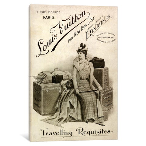 iCanvas Vintage Louis Vuitton Traveling Requisites Advertisement 2 by 5by5collective Canvas Print