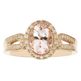 14k Rose Gold Oval Morganite and 1/5ct TDW Diamond Fashion Ring (H-I, I1-I2)