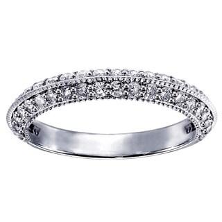 Platinum 3/4ct TDW Pave-set Diamond Wedding Ring (G-H, SI1-SI2)