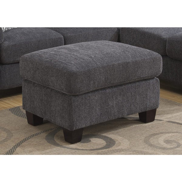 Porch & Den Hamblin Charcoal Grey Ottoman with Fixed Cushion and Block Feet. Opens flyout.