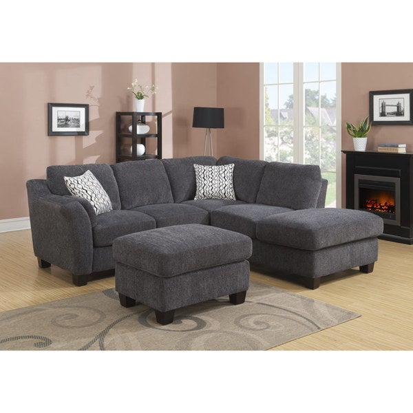 Emerald Clayton Charcoal 2-peice Sectional Sofa
