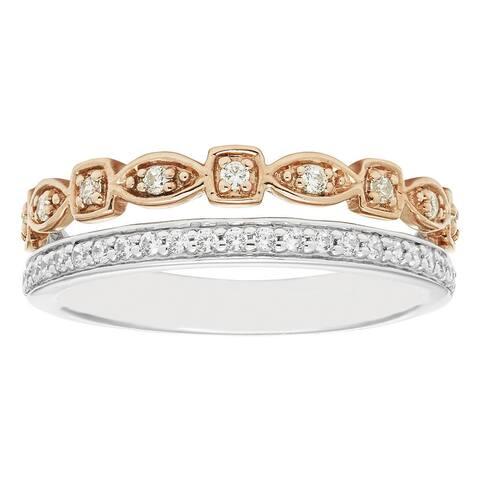 Boston Bay Diamonds 14k Two-tone Gold 1/4ct TDW Stacked Diamond Ring (H-I, I1-I2) - White