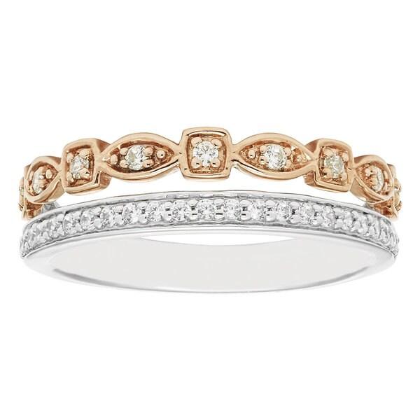 Boston Bay Diamonds 14k Two-tone Gold 1/4ct TDW Stacked Diamond Ring (H-I, I1-I2)