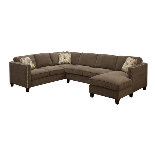 Emerald Focus Chocolate 3PC U Shaped Sectional Sofa