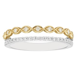 Boston Bay Diamonds 14k White and Yellow Gold 1/4ct TDW Stacked Infinity Diamond Fashion Band Ring (H-I, I1-I2)