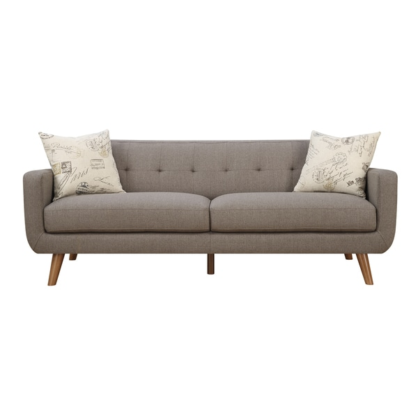 Emerald Remix Brown Sofa with Two Accent Pillows