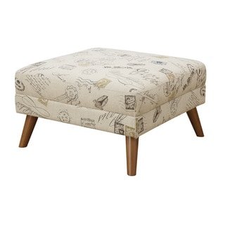 Emerald Remix Accent Print Square Ottoman