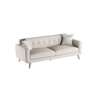 Emerald Remix Beige Sofa with Two Accent Pillows