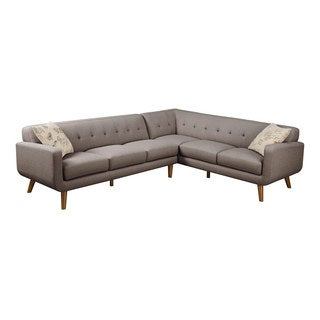 Emerald Remix Brown 2 PC Sectional Sofa with Two Accent Pillows