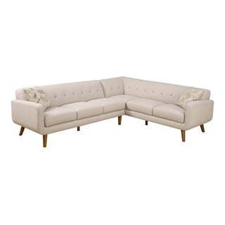 Emerald Remix Beige 2 PC Sectional with Two Accent Pillows