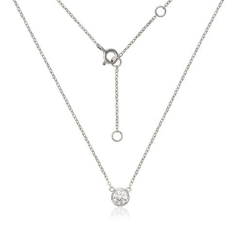 Sterling Silver Bezel-set 6-millimeter Cubic Zirconia Solitaire Cable Necklace