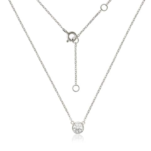 Sterling Silver Bezel-set 6-millimeter Cubic Zirconia Solitaire Cable Necklace