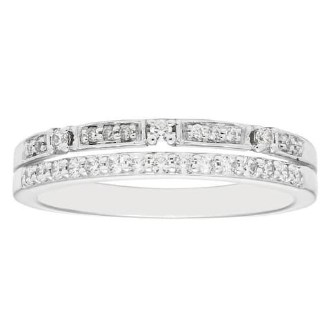 Boston Bay Diamonds 14k White Gold 1/4ct TDW Stacked Diamond Fashion Band Ring (H-I, I1, I2)