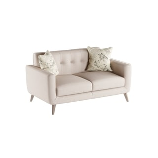 Emerald Remix Beige Loveseat with Two Accent Pillows