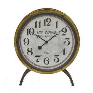 Three Hands Gold-tone Metal Retro Table Clock
