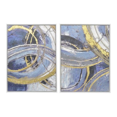 Three Hands Abstract Blue and Gold Framed Oil Painting (Set of 2)