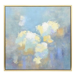 Three Hands Blue/Gold Framed Oil Painting Canvas Art
