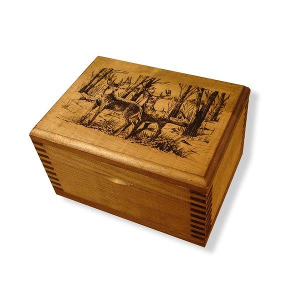 Evans Pine Wood Mini Box with Two Bucks Print
