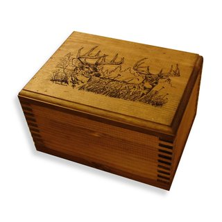 Brown Wooden Two-trophy Deer-print Box