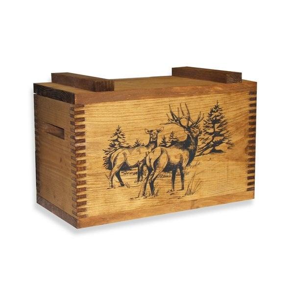 Evans Brown Wooden Box with an Elk Print