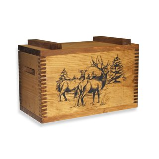 Evans Brown Wooden Box with an Elk Print