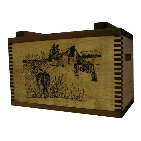 Brown Wood Barnyard Buck Print Standard Ammo Box