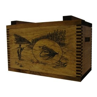 Brown Wood Fly Fisherman Print Standard Ammo Box