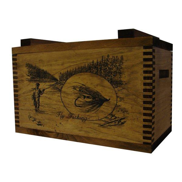 Brown Wood Fly Fisherman Print Standard Ammo Box